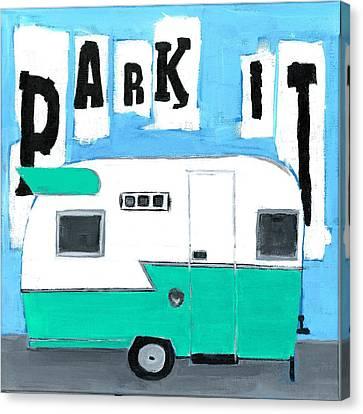 Park It-aqua Canvas Print by Debbie Brown
