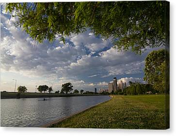 Park Scene With Rower And Skyline Canvas Print by Sven Brogren
