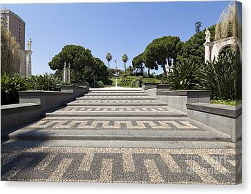 Park Villa Bellini In The Center Of Catania Canvas Print by Wolfgang Steiner