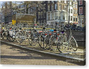 Parked Bikes In Amsterdam Canvas Print