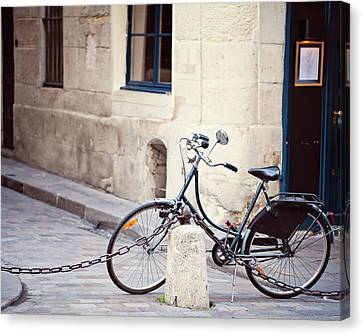 Parked In Paris - Bicycle Photography Canvas Print
