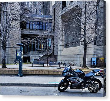 Parked Motor Cycle Canvas Print by Dave Hood