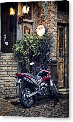 Canvas Print featuring the photograph Parked Motorcycle by Kim Wilson