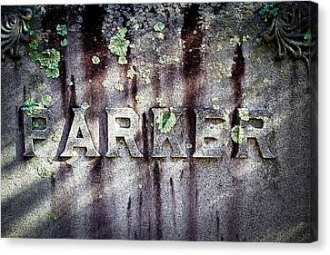 Parker Tombstone - Sleepy Hollow Cemetery Canvas Print by Colleen Kammerer