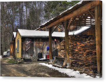 Parker's Maple Barn And Sugar House Canvas Print by Joann Vitali