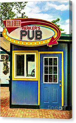Panel Door Canvas Print - Parker's Pub by Mel Steinhauer