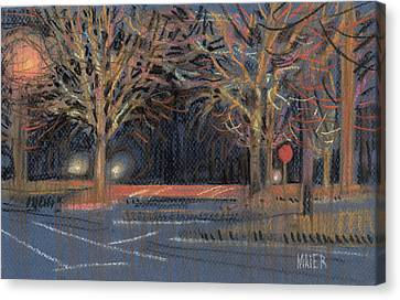 Stop Sign Canvas Print - Parking Lot by Donald Maier