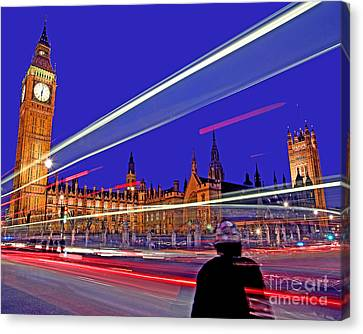 Parliament Square With Silhouette Canvas Print
