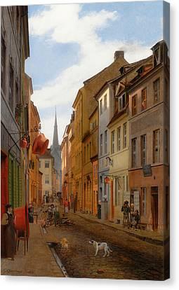 Parochial Strasse In Berlin Canvas Print by Eduard Gaertner
