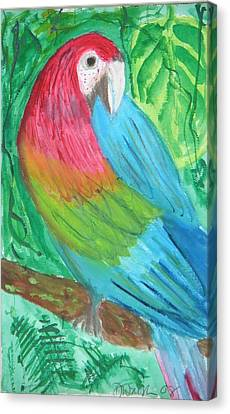 Canvas Print featuring the painting Parrot At Sundy House by Donna Walsh