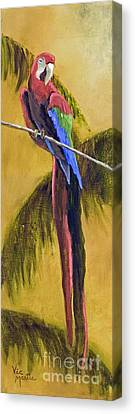 Parrot Is A Character With Gold Leaf By Vic Mastis Canvas Print by Vic  Mastis