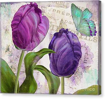 Pink Tulip Canvas Print - Parrot Tulips by Mindy Sommers