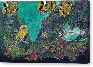 Parrotfish On The Reef Canvas Print by Cynthia Conklin