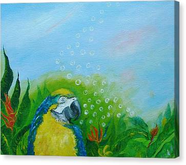 Parrothead Wakes Up In Margaritaville Canvas Print by Phyllis OShields