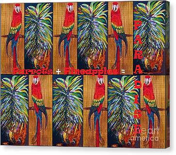Parrots And Pineapples Canvas Print by Eloise Schneider