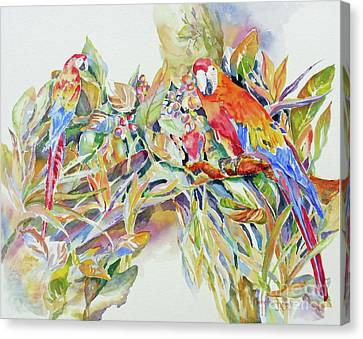 Canvas Print featuring the painting Parrots In Paradise by Mary Haley-Rocks