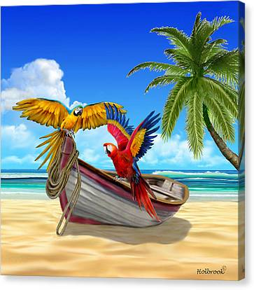 Parrots Of The Caribbean Canvas Print