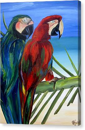 Parrots On The Beach Canvas Print by Patti Schermerhorn