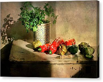 Canvas Print featuring the photograph Parsley And Peppers by Diana Angstadt