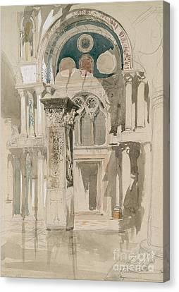 Part Of Saint Mark's Basilica, Venice  Sketch After Rain Canvas Print by John Ruskin
