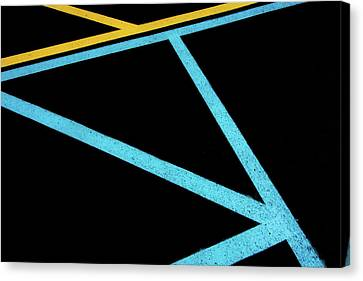 Canvas Print featuring the photograph Partallels And Triangles In Traffic Lines Scene by Gary Slawsky
