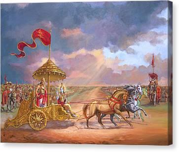Religious Artist Canvas Print - Partha Sarathi  Krishna Speaks The Bhagavad-gita To Arjuna by Dominique Amendola