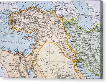 Partial Map Of Middle East In 1890s Canvas Print