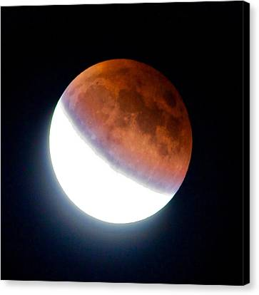 Canvas Print featuring the photograph Partial Super Moon Lunar Eclipse by Todd Kreuter
