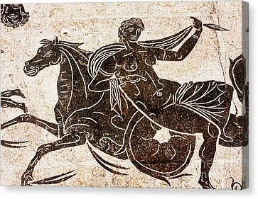Particular Of Roman Mosaic In The Thermal Baths Of Neptune In An Canvas Print by Marco Gallarino