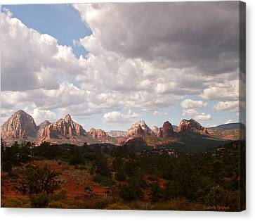 Sedona Mountains Canvas Print - Partly Sunny Partlly Cloudy by Harvie Brown