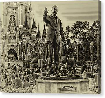 Partners Statue Walt Disney And Mickey In Black And White Canvas Print by Thomas Woolworth