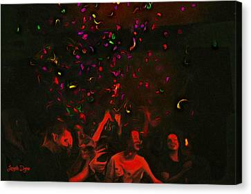 Party And Confetti - Pa Canvas Print by Leonardo Digenio
