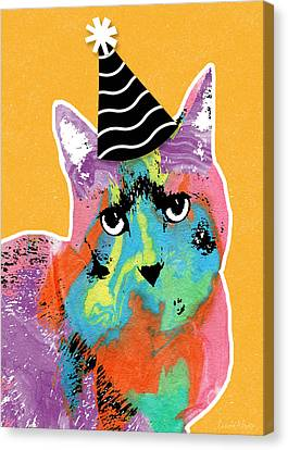 Party Cat- Art By Linda Woods Canvas Print by Linda Woods