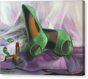 Party Shoes Canvas Print by Anna Rose Bain