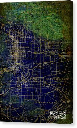 Pasadena Blue And Green Map Year 1896 Canvas Print