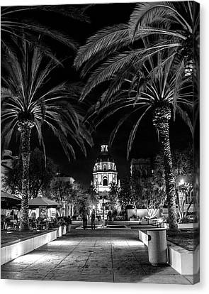 Canvas Print featuring the photograph Pasadena City Hall After Dark In Black And White by Randall Nyhof