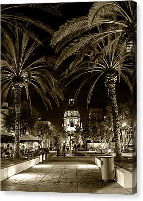 Canvas Print featuring the photograph Pasadena City Hall After Dark In Sepia Tone by Randall Nyhof