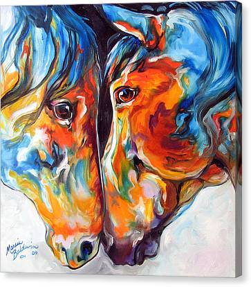 Paso Fino Friends Equine Abstract Art By M Baldwin Canvas Print by Marcia Baldwin