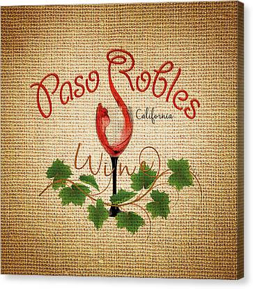 Canvas Print featuring the digital art Paso Robles Wine And Burlap by Cindy Anderson