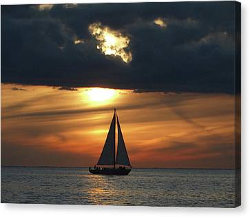 Passage North Sunset Sail Canvas Print