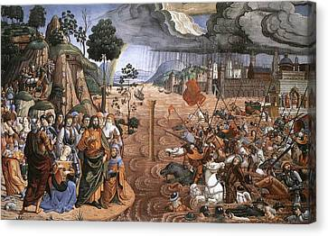 Passage Of The Red Sea Canvas Print by Cosimo Rosselli