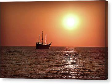 Canvas Print featuring the photograph Passing By In Calm Waters by Joan  Minchak