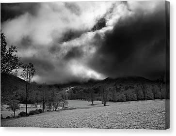 Canvas Print featuring the photograph Passing Snow In North Carolina In Black And White by Greg Mimbs