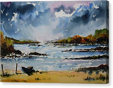 Passing Storm At Lahinch Canvas Print by Wilfred McOstrich