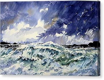 Passing Storm At The Blaskets  Canvas Print by Wilfred McOstrich