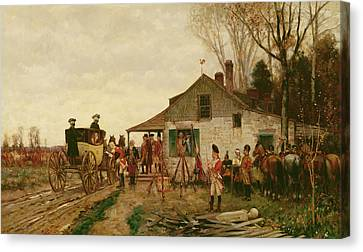 Passing The Outpost Canvas Print by Alfred Wordsworth Thompson