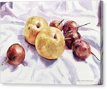 Passion Fruits And Pears Canvas Print by Joey Agbayani