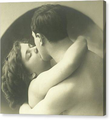 Passionate Kiss Canvas Print by French School