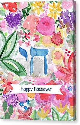 Friend Holiday Card Canvas Print - Passover Chai- Art By Linda Woods by Linda Woods