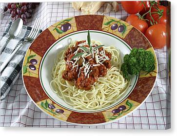 Pasta Dish With Meat Sauce Canvas Print by Jack Dagley